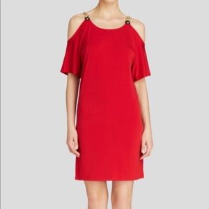 MICHAEL Michael Kors Red Cold Shoulder Dress - M